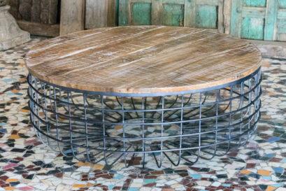Okrągły stolik drewno mango metal - Orange Tree meble indyjskie