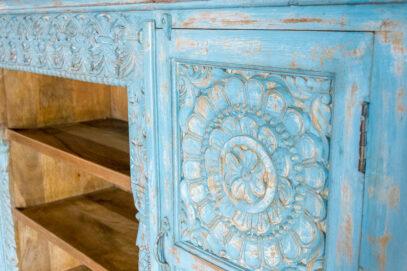 Niebieska komoda RTV z mandalą - Orange Tree meble indyjskie