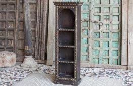 Meble indyjskie - regał zdobiony mosiądzem w stylu cart - drewno mango