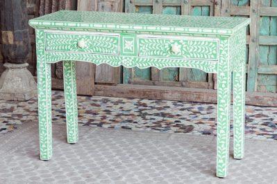 Zielona konsola z kością - Orange Tree meble indyjskie