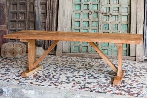 Duży prosty stół jadalny, lite drewno akacji azjatyckiej - meble indyjskie Orange Tree