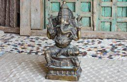 Mosiężna rzeźba boga Ganesh - meble indyjskie Orange Tree