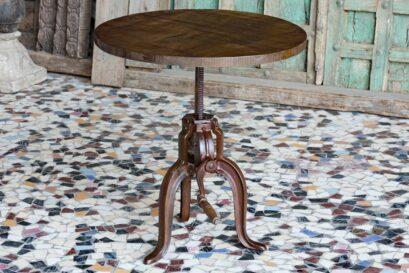 Okrągły loftowy stolik o zmiennej wysokości - metal i drewno ezgzotyczne - meble indyjskie Orange Tree