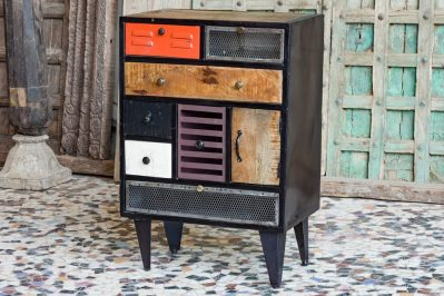 Loftowa komódka, szafka z metalu i drewna - meble indyjskie Orange Tree