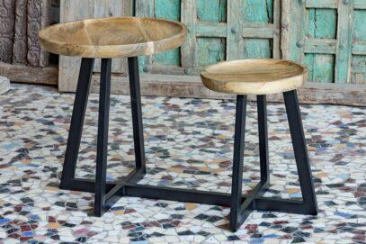 Taboret zintegrowany ze stolikiem, metal i drewno - meble indyjskie Orange Tree