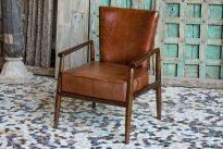 Skórzany miękki fotel w stylu lat 50-60, skóra naturalna - meble indyjskie Orange Tree