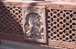 Stary panel czerwony piaskowiec Rajasthan - Orange Tree meble indyjskie