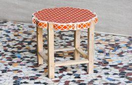 Taboret zdobiony kością - Orange Tree meble indyjskie