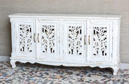 Bielona komoda ażurowymi drzwiczkami - Orange Tree meble indyjskie