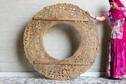 Duża okrągła rzeźbiona rama - Orange Tree meble indyjskie