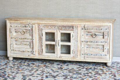 Ciężka rzeźbiona komoda ze starymi drzwiczkami - Orange Tree meble indyjskie