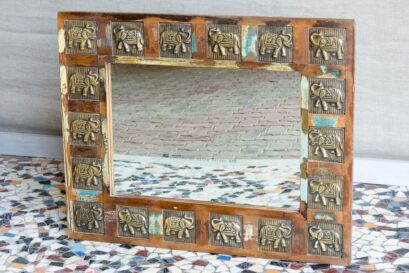 Lustro recycled ze słoniami - Orange Tree meble indyjskie
