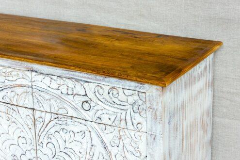Bielona komoda z mandalami - Orange Tree meble indyjskie