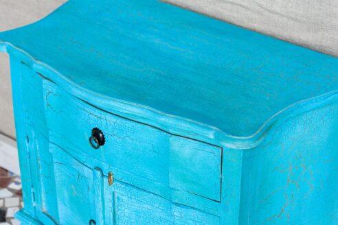 Niebieska komódka z szufladą - Orange Tree meble indyjskie