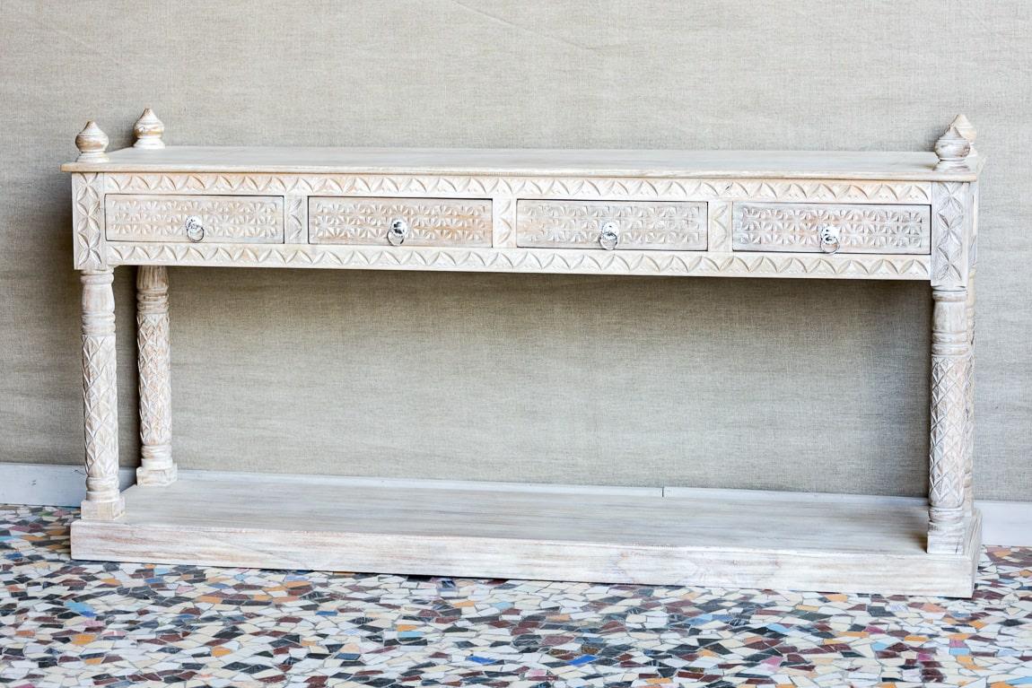Rzeźbiona konsola z podwójnym blatem - Orange Tree meble indyjskie