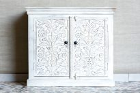 Bielona szafka z kwiatami - Orange Tree meble indyjskie