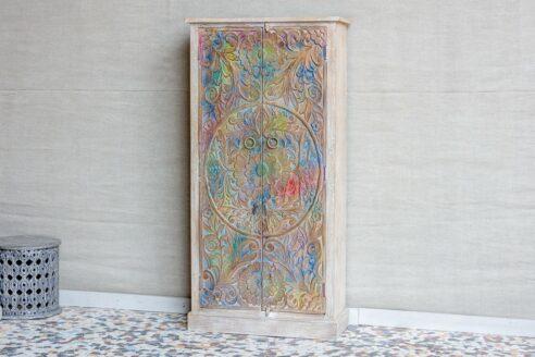 Dwudrzwiowa szafa kolorowa z mandalą - Orange Tree meble indyjskie