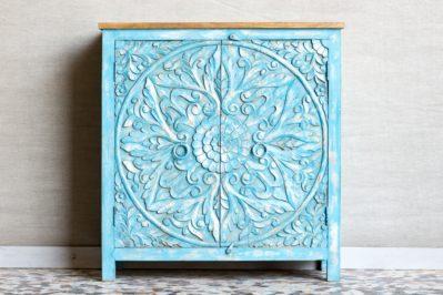 Niebieska komoda z mandalą - Orange Tree meble indyjskie