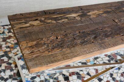 Loftowy stolik z grubym blatem slipper wood - Orange Tree meble indyjskie