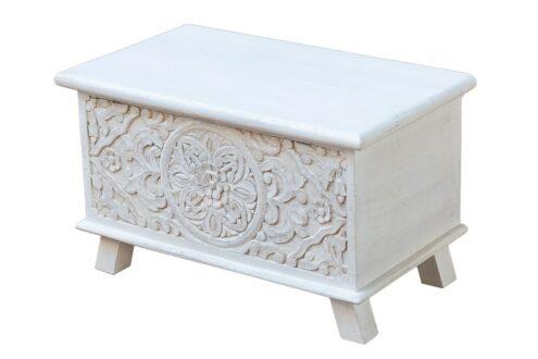 Bielony kuferek z mandalą - Orange Tree meble indyjskie