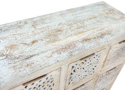 Piaskowana komoda z ażurowymi szufladkami - Orange Tree meble indyjskie