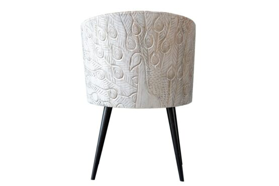 Krzesło z rzeźbionym pawiem - Orange Tree meble indyjskie