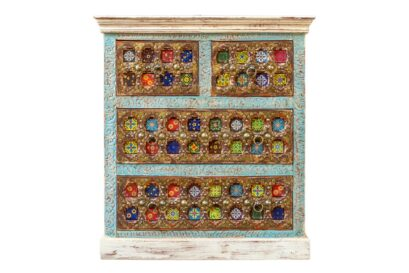 Bieliźniarka zdobiona płytkami i mosiądzem - Orange Tree meble indyjskie