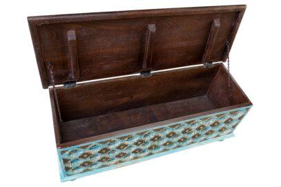 Niebieski kufer z mosiądzem - Orange Tree meble indyjskie