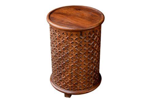 Brązowy okrągły stolik ażurowy - Orange Tree meble indyjskie