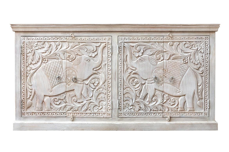 Bielona komoda ze słoniami - Orange Tree meble indyjskie