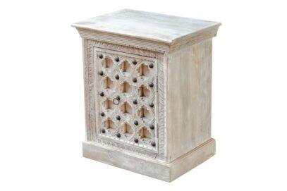 Bielona szafka nocna z ćwiekami - Orange Tree meble indyjskie