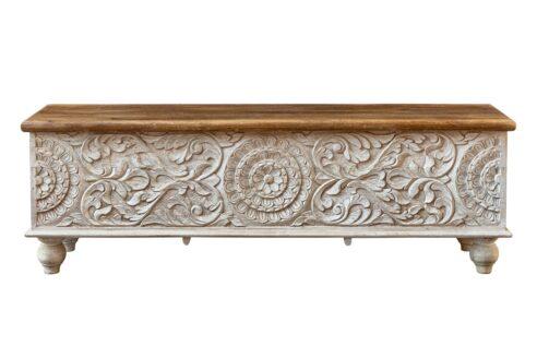 Bielona skrzynia kufer z mandalą - Orange Tree meble indyjskie