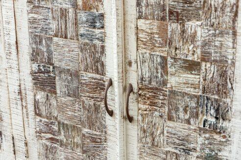 Bielona komoda ze starym drewnem - Orange Tree meble indyjskie