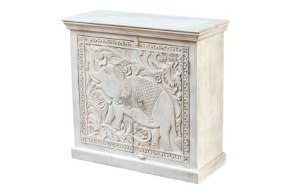 Bielona komoda ze słoniem - Orange Tree meble indyjskie