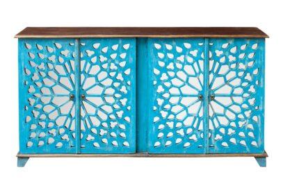 Niebieska komoda z ażurem i lustrem - Orange Tree meble indyjskie