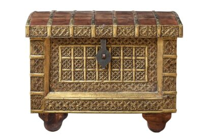 Średniowieczny kufer z mosiądzem - Orange Tree meble indyjskie