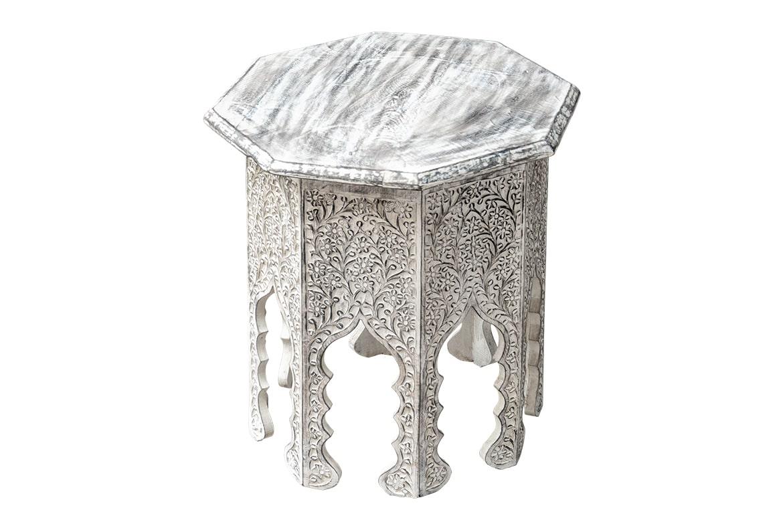 Ośmiokątny bielony stolik perski - Orange Tree meble indyjskie