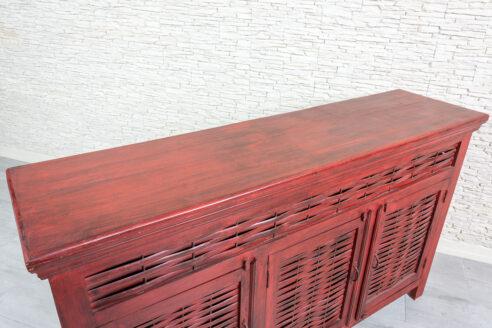 Czerwona komoda z bambusem - Orange Tree meble indyjskie