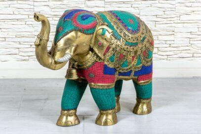 Mosiężny słoń z Jaipuru - Orange Tree meble indyjskie