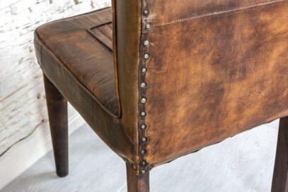 Krzesło antyczna skóra naturalna - Orange Tree meble indyjskie