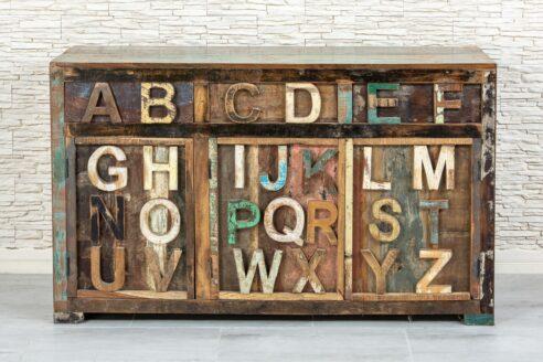 Loftowa komoda z alfabetem 3D - Orange Tree meble indyjskie