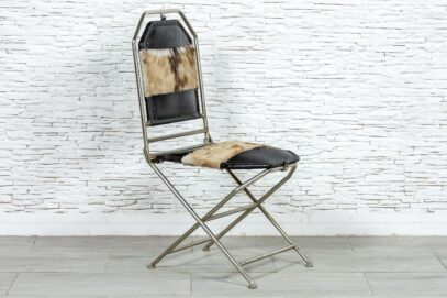 Metalowe krzesło ze skórą - Orange Tree meble indyjskie