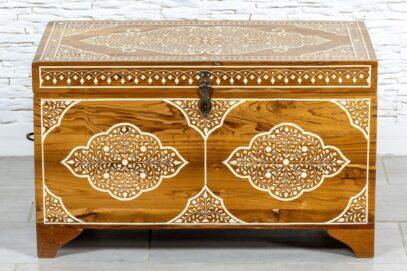Tekowy kufer zdobiony kością - Orange Tree meble indyjskie