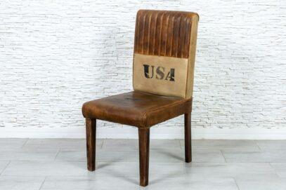 Krzesło vintage skóra naturalna - Orange Tree meble indyjskie