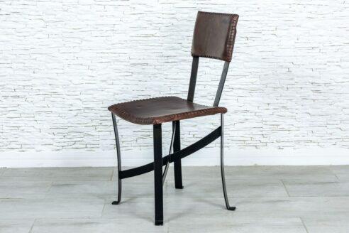 Metalowe krzesło ze skórą naturalną - Orange Tree meble indyjskie