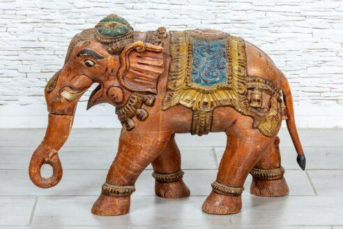 Kolorowy słoń drewniany - Orange Tree meble indyjskie