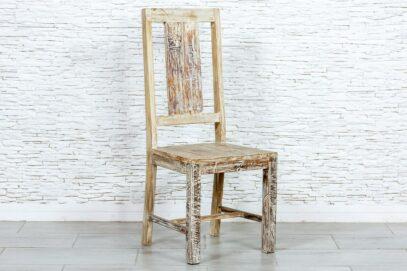 """Bielone krzesło """"recycled"""" - Orange Tree meble indyjskie"""