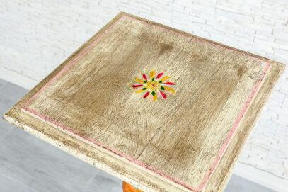 Kolorowa kolumna drewniana - Orange Tree meble indyjskie