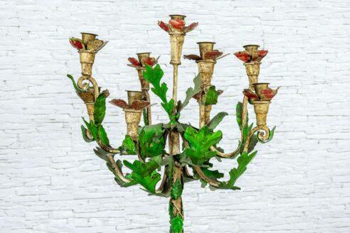 Wysoki świecznik metalowy - Orange Tree meble indyjskie