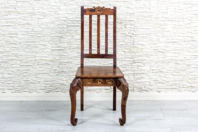 Krzesło ze słoniami i intarsją - Orange Tree meble indyjskie